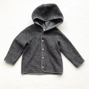 H&M gray textured hooded light jacket EUC 1.5-2Y